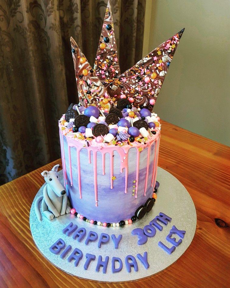 Pink And Purple Drip Cake Chocolate Bark Fondant Greyhound Wow