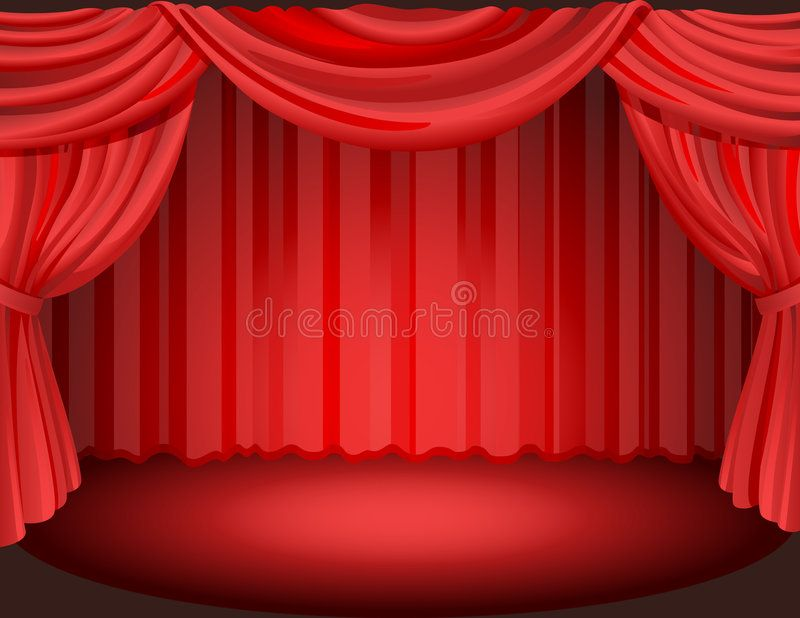 Curtain 2 Vector Illustration Red Curtains On A Stage