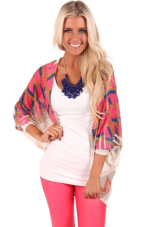 c00dd9bdc60 Lime Lush Boutique - Coral Diamond Knit Kimono