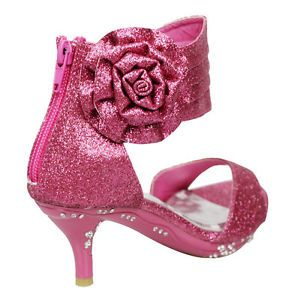 Girls  Ankle Wrap High Heel Glitter Dress Sandals w  Flower Fuchsia ... 0be038439420