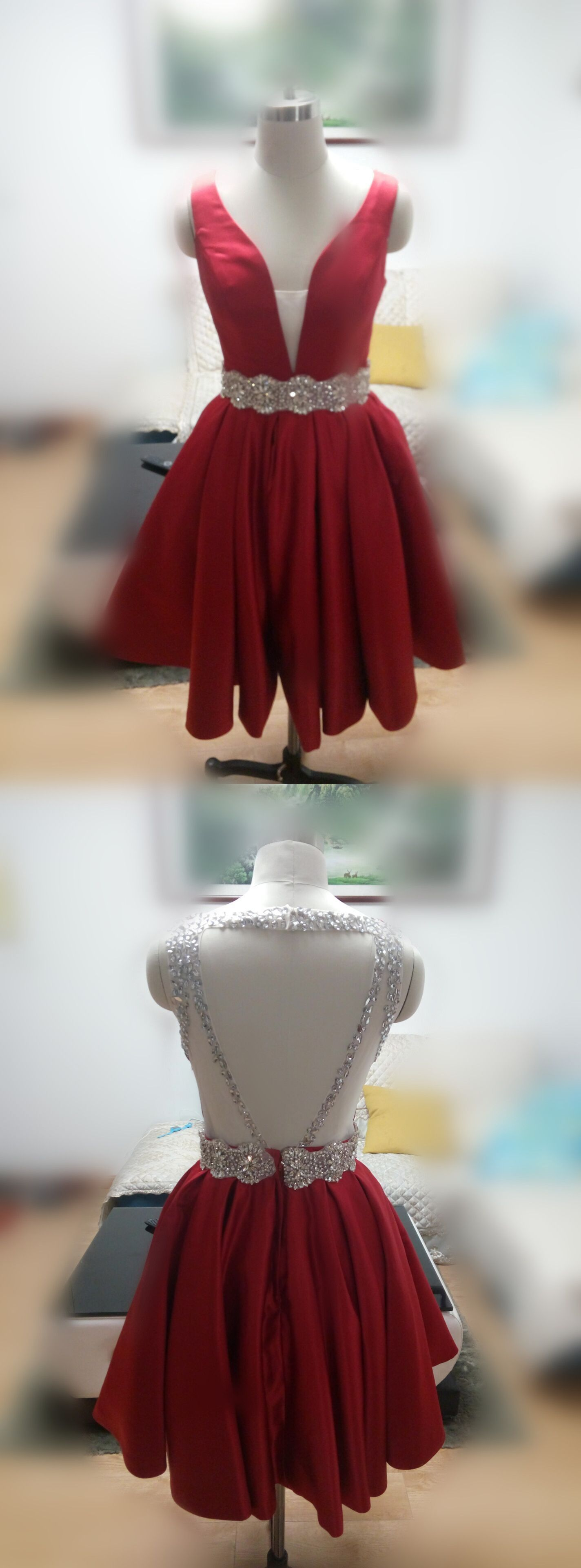 Cute aline dark red homecoming dress with open back from modsele