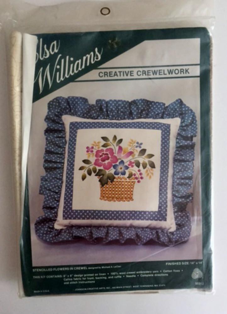 Vintage Elsa Williams Crewel Embroidery Kit Basket Flowers Pillow