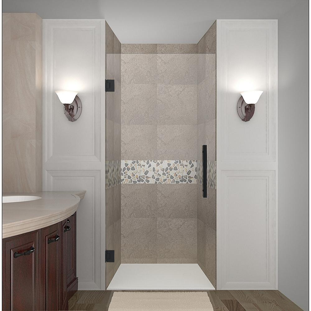 Frameless Hinged Shower Door And Panel.Aston Cascadia 33 75 34 25 In X 72 In Frameless Hinged
