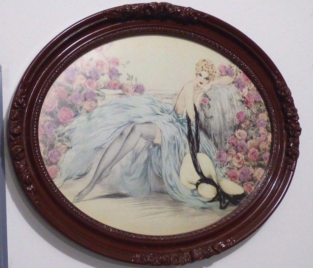 Vintage Louis Icart La Belle Rose Ornate Framed Lithograph Print Reproduction Artdeco Lithograph Print Lithograph Ornate