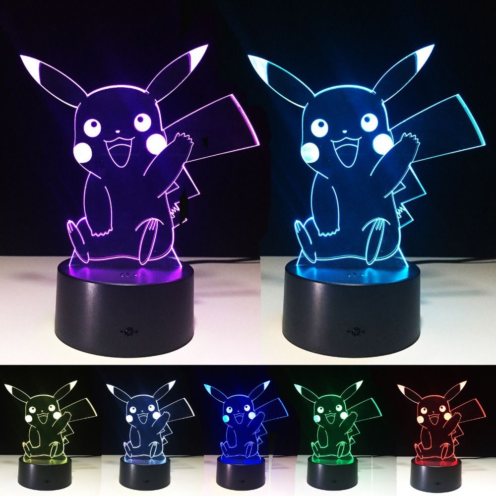 Creative Pokemon Umbreon 3d Lamp Visual Illusion Usb Cartoon Night Light Led 7 Color Sleep Table Lamp Children Christmas Gifts Mood Lamps 3d Lamp Umbreon