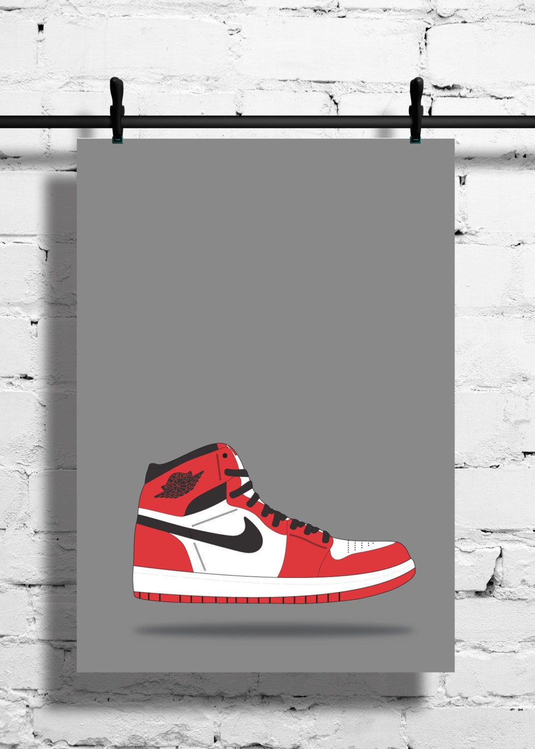 Nike Air Jordan 1 Chicago Poster – 1985 – Sneaker Poster – A4 - A3 –  Digital – Red – Black - White – Art – Sneaker - Basketball - Chicago