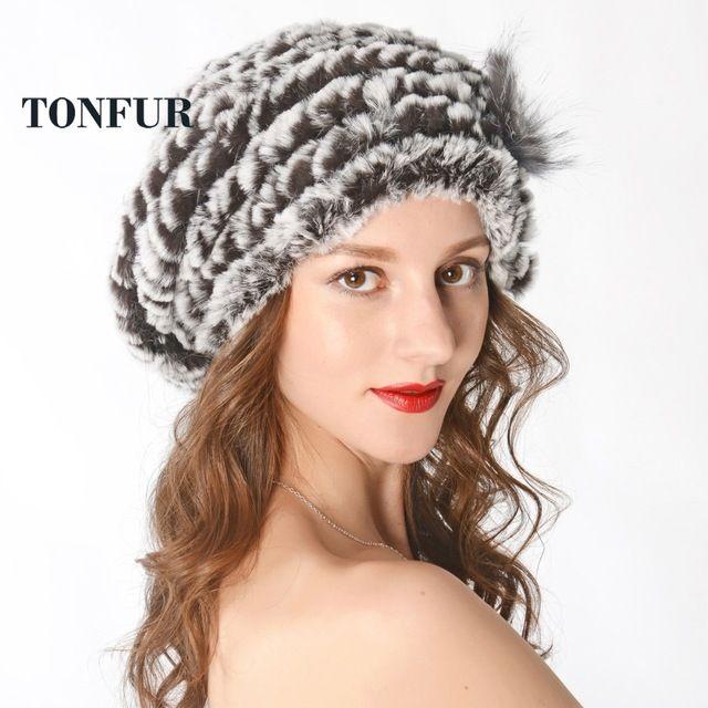 645d81dac22 Fashion New Genuine Rex Rabbit Fur Hat Knitted Rabbit Fur Cap Real Rabbit  Fur Headwear Winter