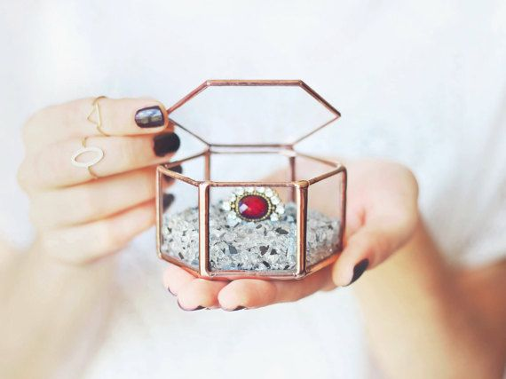 Glass Geometric Wedding Ring Box Hexagon Ring Box Hochzeit