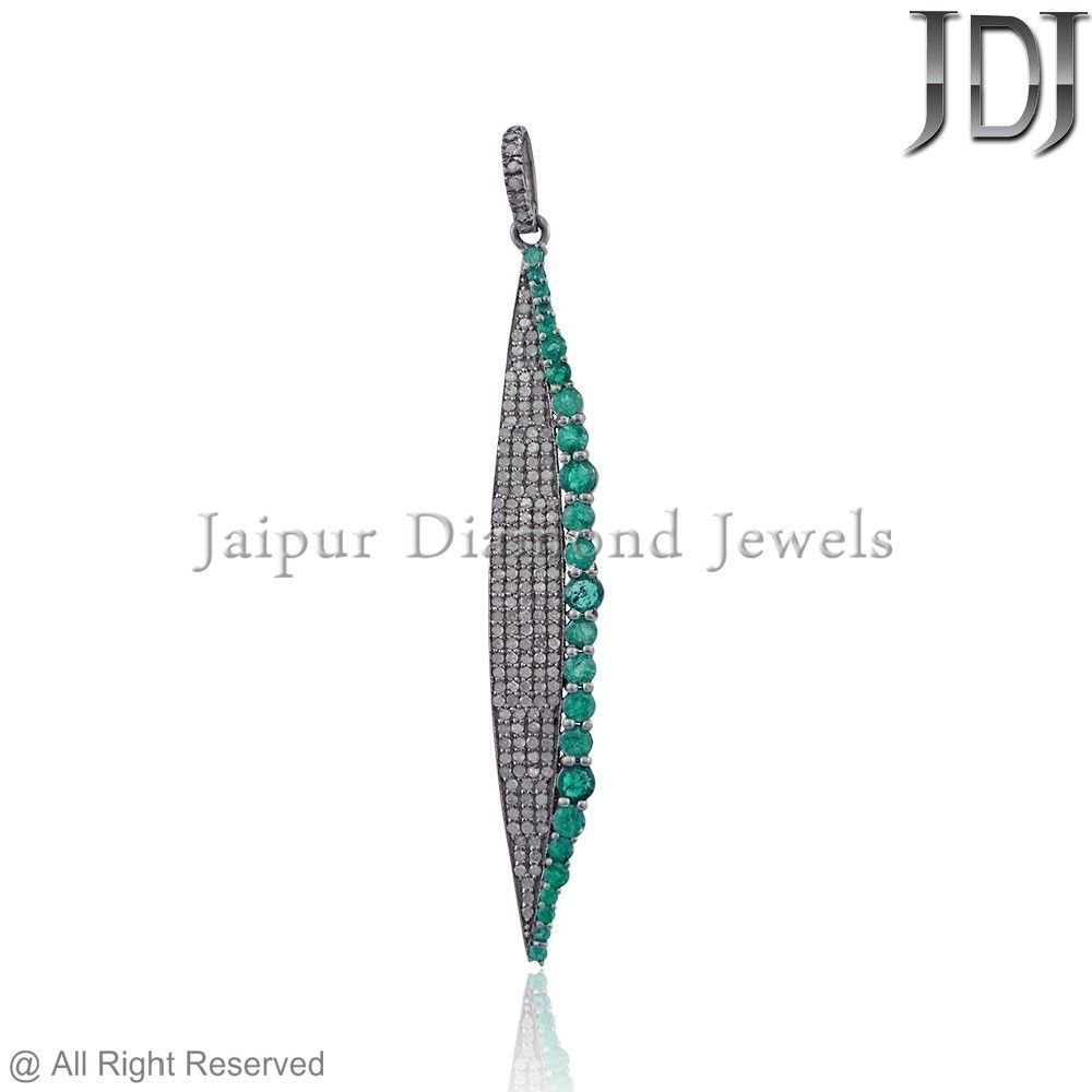Natural Green Emerald Pave Diamond 925 Sterling Silver Pendant Jewelry PEMJ-851 #Handmade #Pendant #emerald #diamond #jewelry #925silver