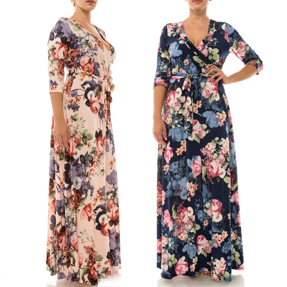 Xl x x plus size garden floral jersey faux wrap maxi dress long