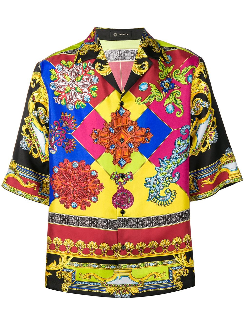 2008a7a8c0 Versace printed board shirt - Black | Products in 2019 | Versace ...