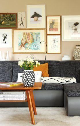 Bilderwand schöne Idee für das #wohnzimmer #interior #bilderwand - wandgestaltung wohnzimmer orange
