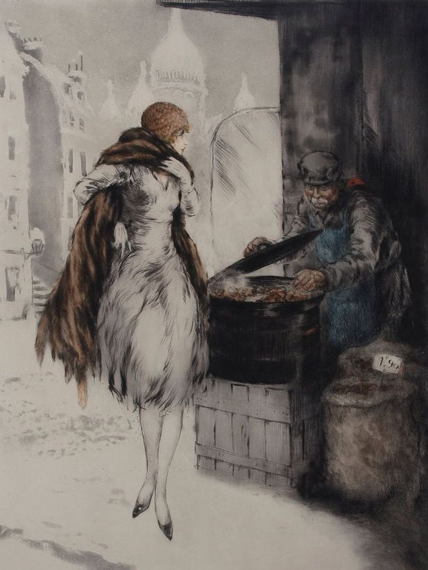 Louis Icart 'Chestnut Vendor' 1928