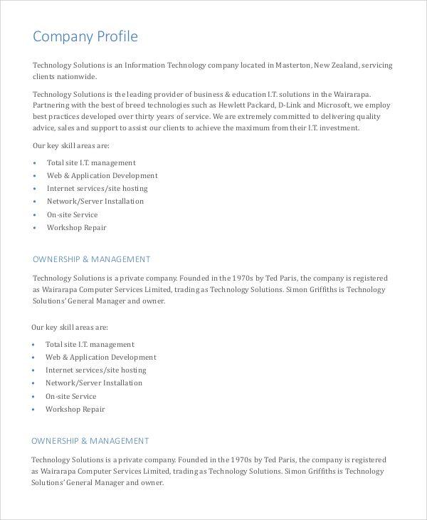 Business Profile Template Company Profile Template Company Profile