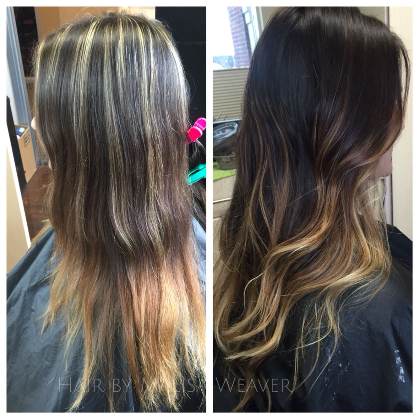 Before After Several Things Are Going Wrong With This One Bad Chunk Highlights To Blended Balayage Ombre Brunett Bad Hair Balayage Short Hair Balayage