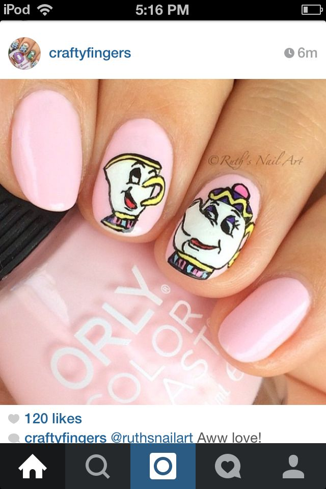 Beauty and the Beast nails. Super cute!