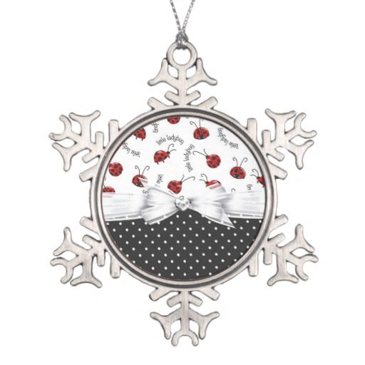 Little Ladybugs Ornament #ladybugs #bugs #insects #cute #ornament #Pewter #Snowflake
