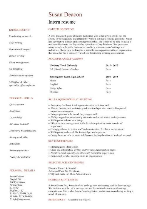 no work experience intern resume