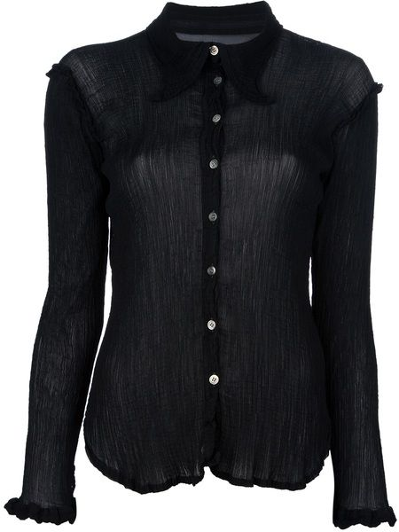 Semisheer Button Shirt - Lyst