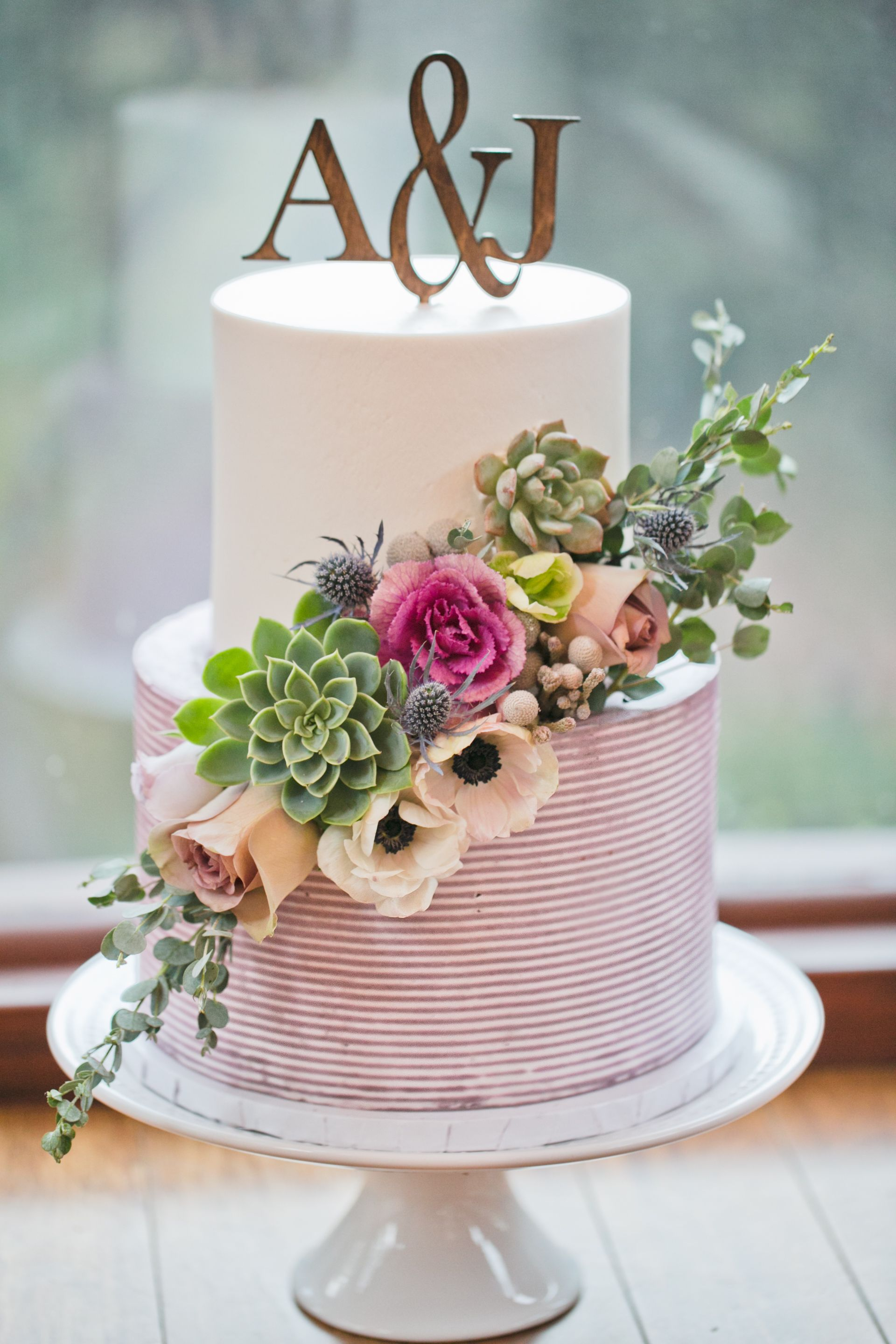 Striped Buttercream By Great Dane Bakery Wedding Cakes Rustic