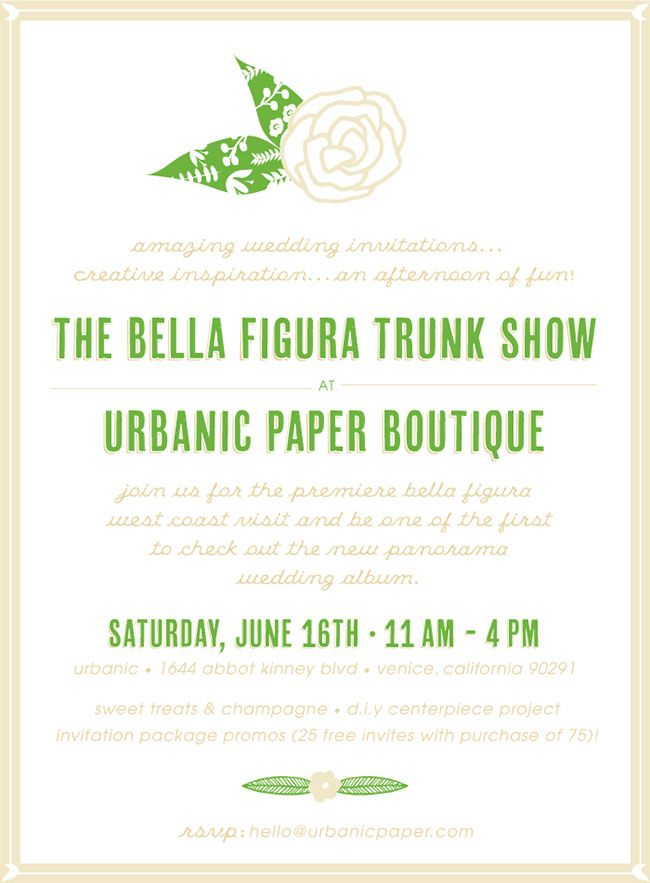 Bella Figura Wedding Invitations Trunk Show in LA