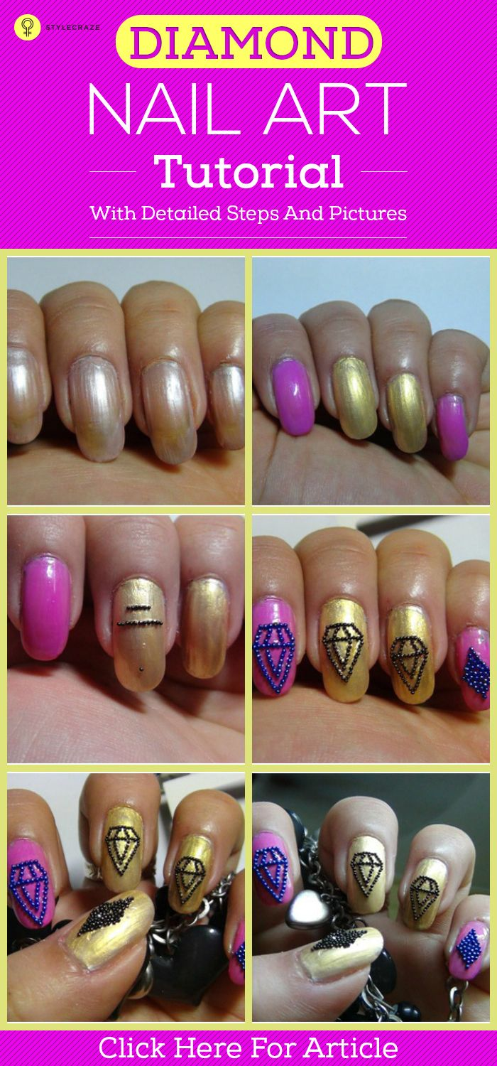 """It is said """"diamonds are a girl's best friend """". Are you the one who is fond of this statement? Then you surely would like to put up with a diamond nails art, which looks as chic as those dazzling rocks on a lovely neck piece or ring."""