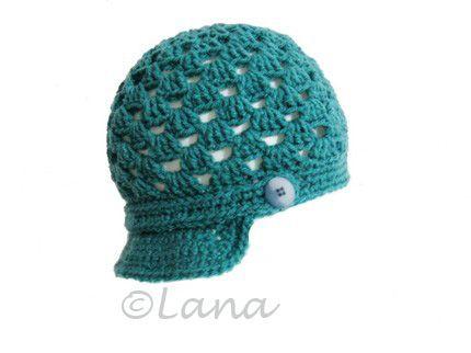 Knitting pattern instruction Crocheted summer cotton Newsboy style Hat Baseball Cap PDF