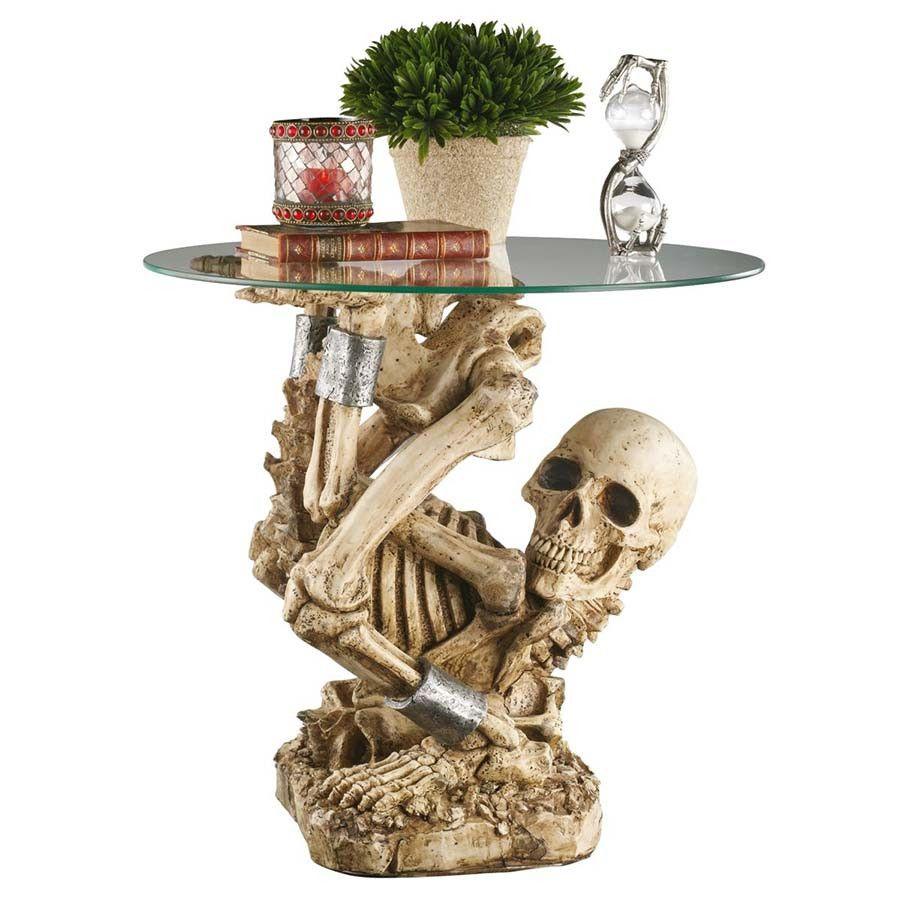 Skeleton Side Table Skull Furniture Skull Decor Glass Top Accent Table [ 900 x 900 Pixel ]