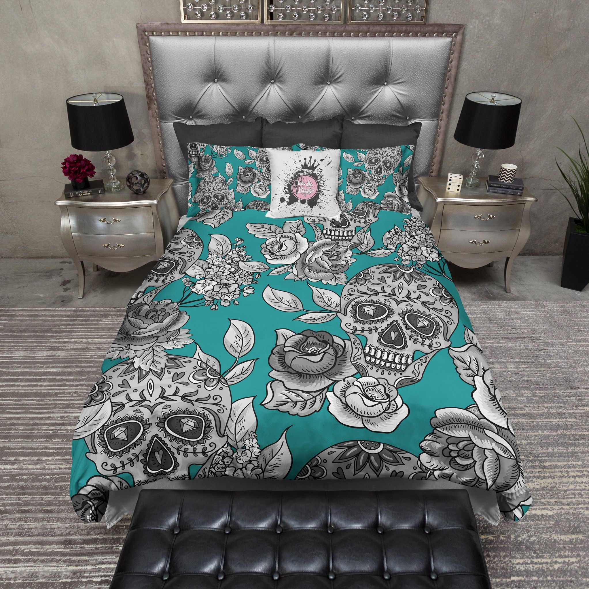 The Original Teal Sugar Skull Bedding With Images Duvet
