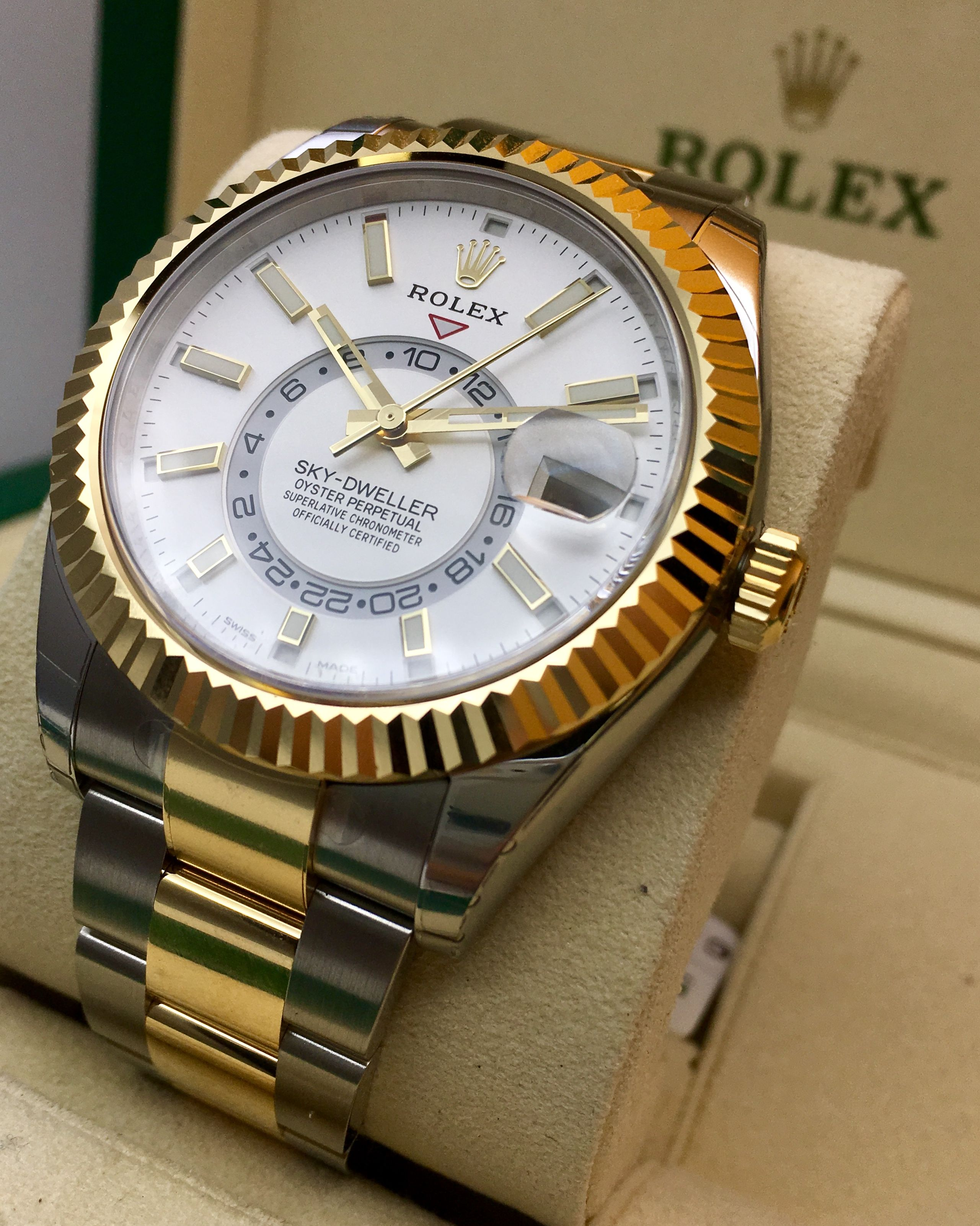 847a2e87a33 Rolex Sky-Dweller Steel   Yellow Gold White Dial 326933