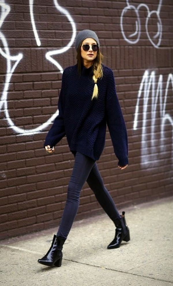 20 Chic Looks with Oversized Sweaters | Winter street styles ...