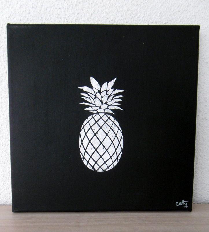 Fabuleux peinture acrylique, tableau techniques mixtes, ananas en noir et  CF08