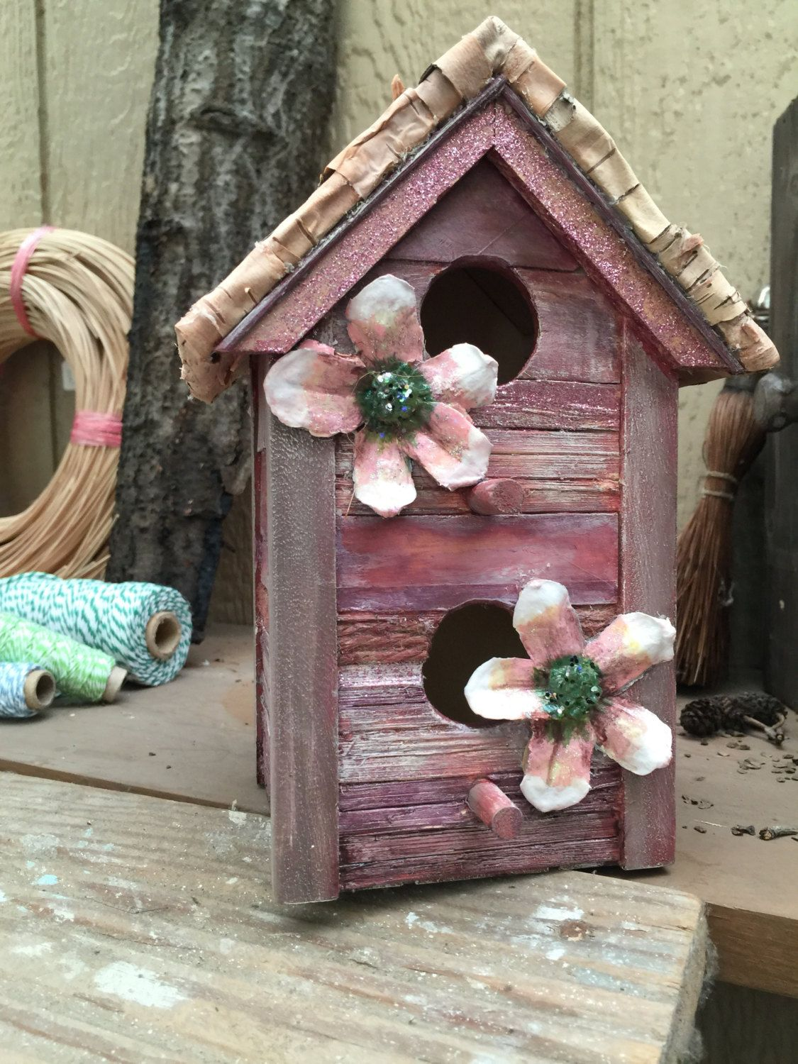 Best Maroon Flower 2 Story Birdhouse Stripes Tree Bark Roof 400 x 300