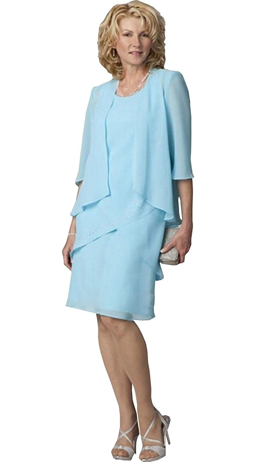 Newdeve chiffon sleeve tea length sky blue mother dress with