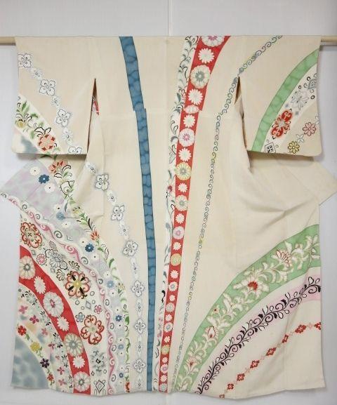 2916M09z1070 Vintage Japanese Kimono Silk HOUMONGI Light beige Flowers