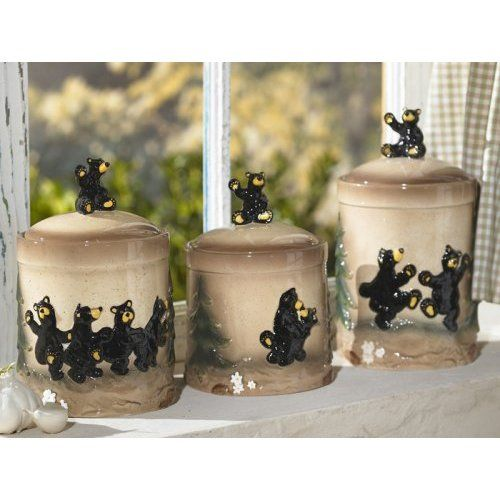 bear kitchen decor | bear kitchen canister set lodge decor: kitchen