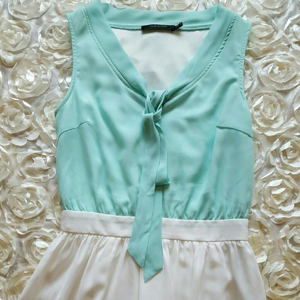 Never Worn Modcloth Mint And White Dress