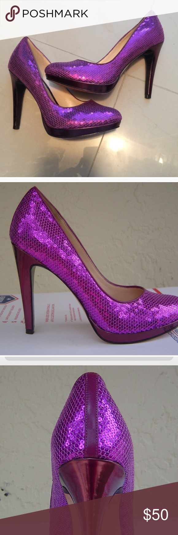 3f23edbc604 Cole Haan Purple Sequin Pump Size 8 Cole Haan Nike Air purple Sequin ...