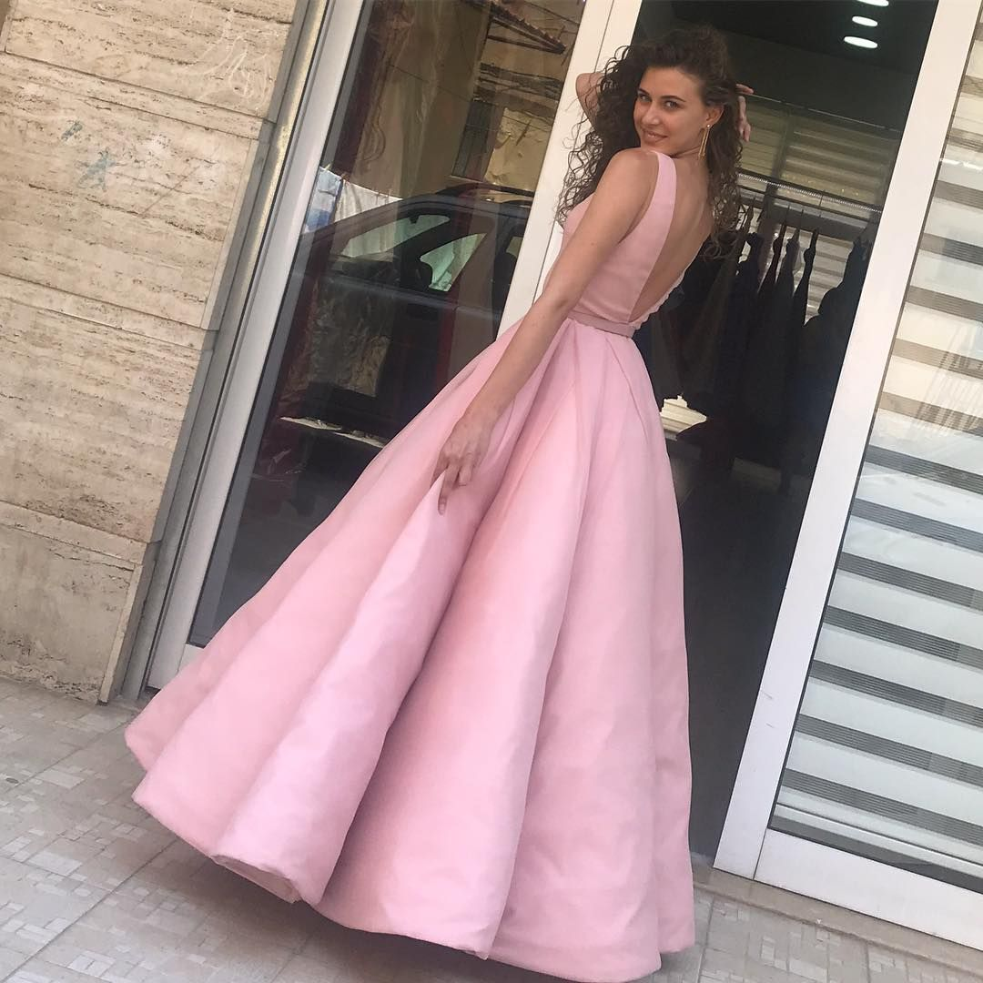 Opening Back Pink Satin Ball Gown Prom Dresses | Prom | Pinterest ...