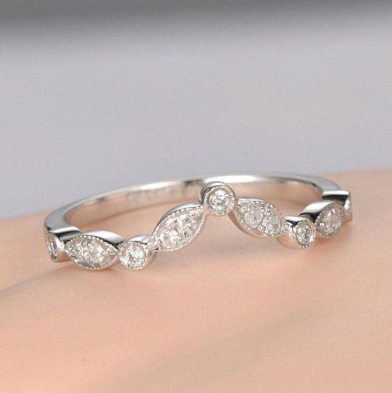 03cdf9acbb241 Curved V Milgrain Diamond wedding band solid 14k white gold half ...