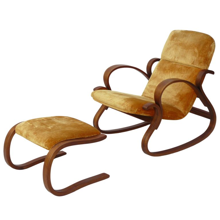 Early Rare Peter Danko Bentwood Rocking Chair And Ottoman 48th C Custom Danko Furniture Ideas