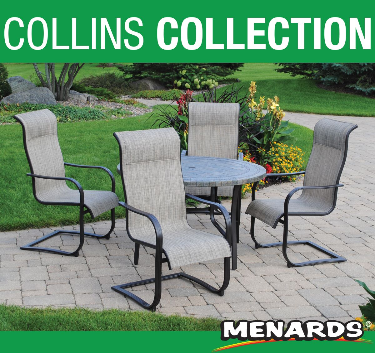 Dine With Friends And Family Outdoors With The 5 Piece Backyard Creations Collins Dining Patio Set Th Patio Furniture Collection Patio Set Backyard Creations