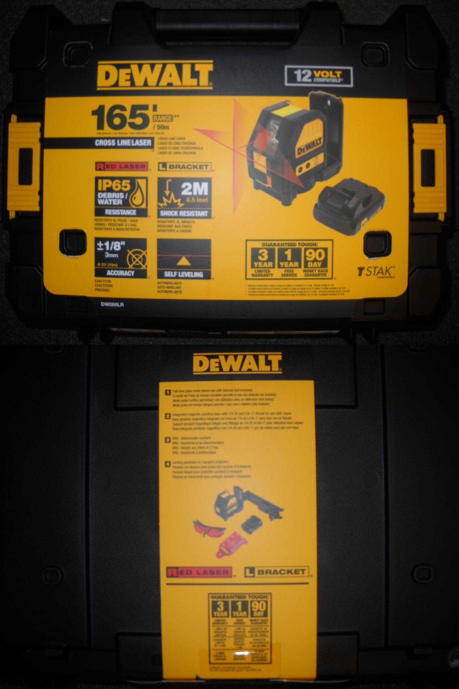 Dewalt Dw088lr 12v Li Ion Rechargeable Self Leveling Red Cross Line Laser New Dewalt Measuring Tools Laser