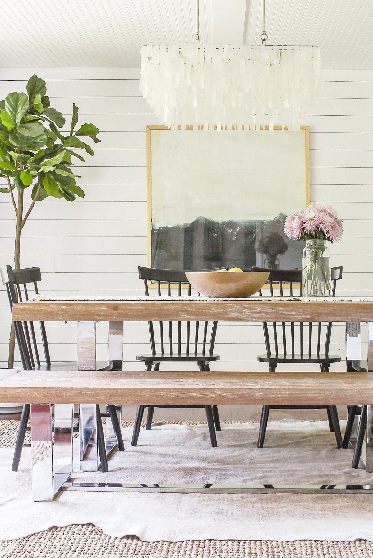DIY modern glam farmhouse meets coastal rustic dining room