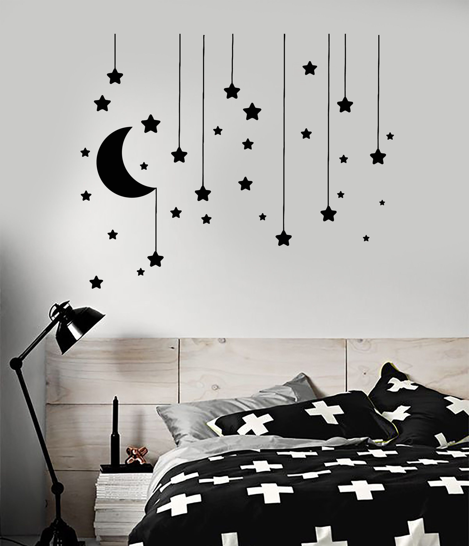 Vinyl Wall Decal Stars Crescent Moon Dream Bedroom Ideas Stickers