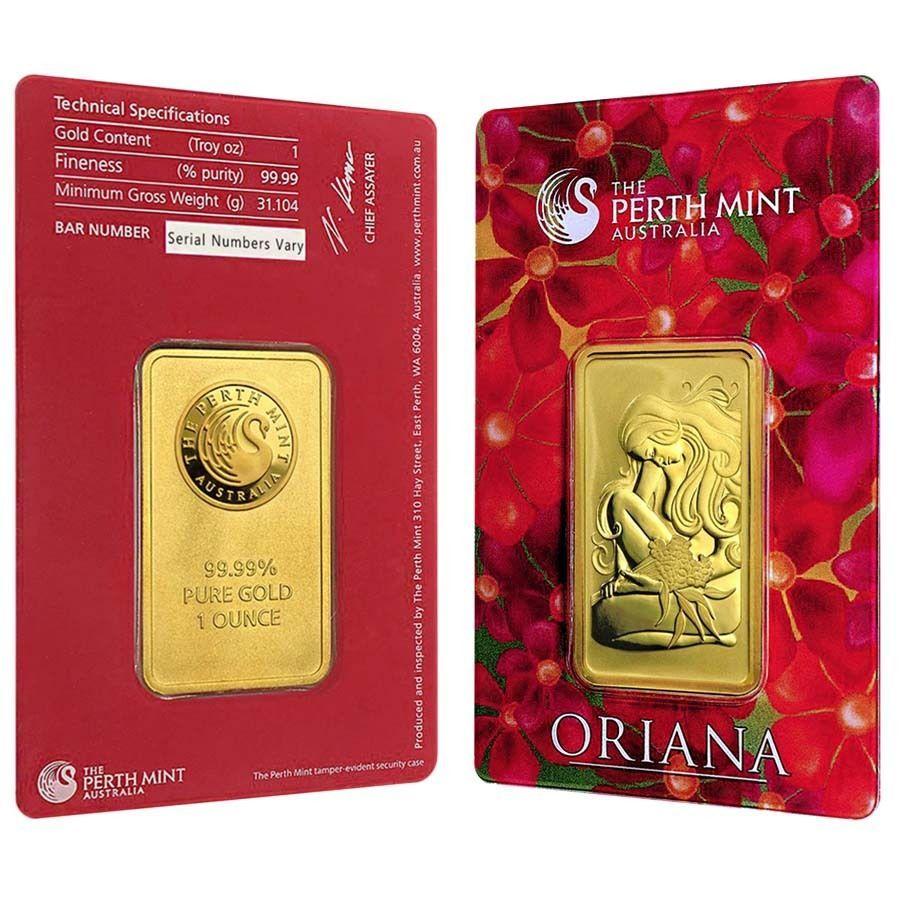 1 Oz Perth Mint Oriana Design Gold Bar 9999 Fine In Assay Gold Bar Mint Bar Mint