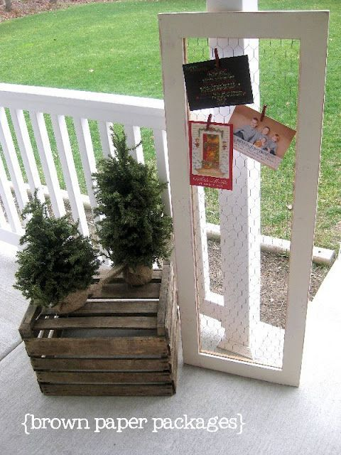 chicken wire framed christmas card holder | Christmas card holders ...