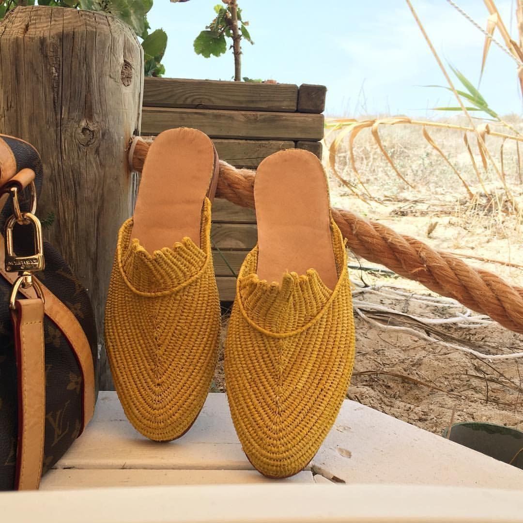 Raffia slipper shoe with detail handmade bast straw – Artofit