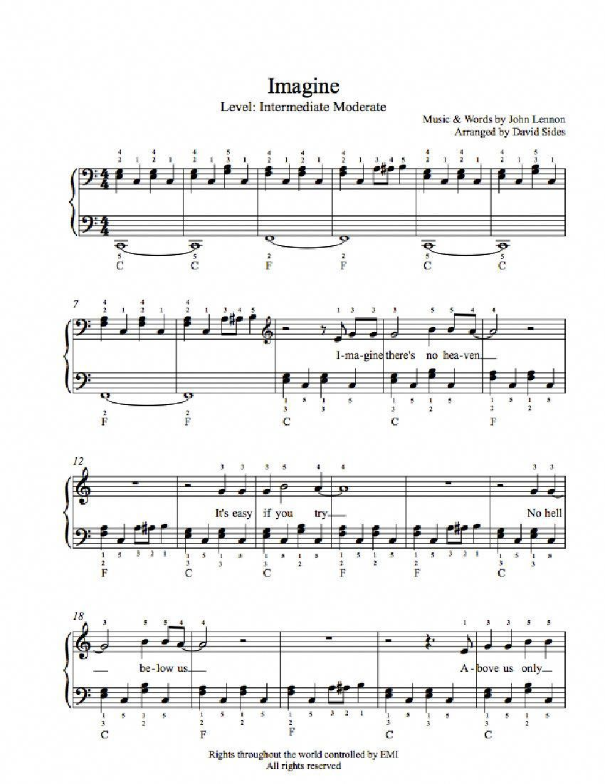 Imagine By John Lennon Piano Sheet Music Intermediate Level
