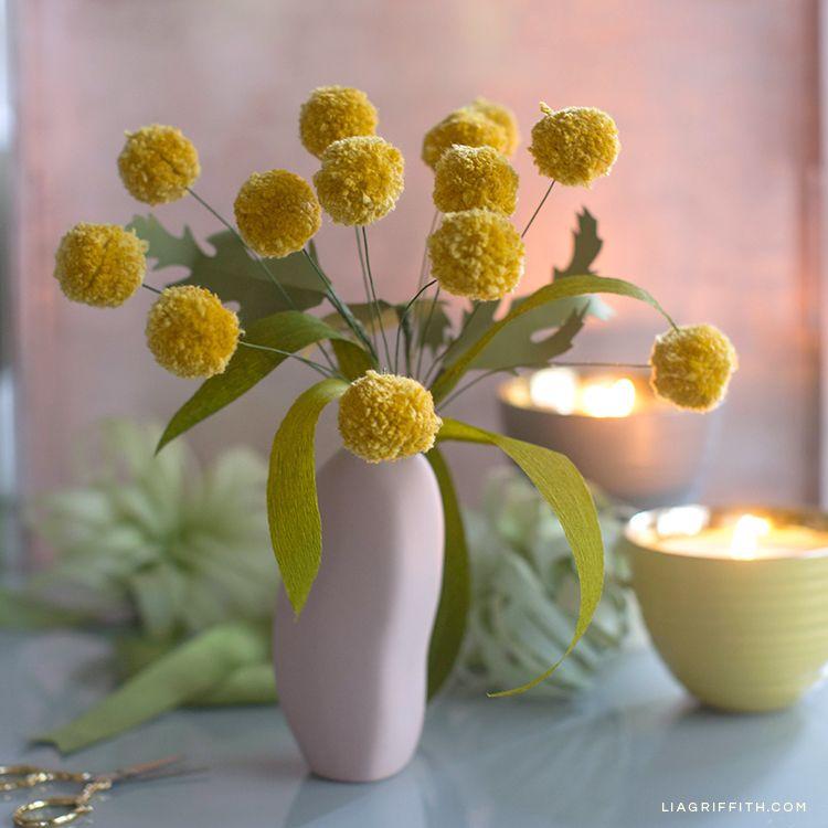 Cute Easy Pom Pom Billy Balls Craspedia Lia Griffith Paper Flowers Diy Vase Flower Diy Crafts